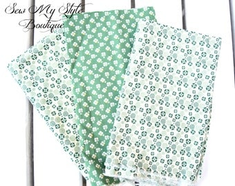 Vintage Print Bundle/Green and Cream colors Vintage print Bundle/St. Pattys Day Fabrics