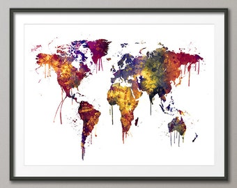 Watercolor Map of the World Map, Art Print (2464)