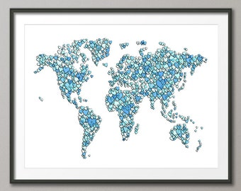 Love Hearts Map of the World Map, Art Print (2469)