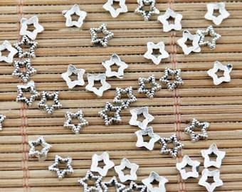 40 Star Bead Caps Antique Silver Tiny 4 mm U.S Seller - bc131