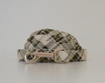 Green Cream Plaid Dog Leash Wedding Accessories Made to Order