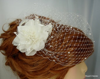 Bridal Veil Set, Pure Silk Flower, Birdcage Veil, Detachable Headpiece, Veil Fascinator Set, REX15-3026