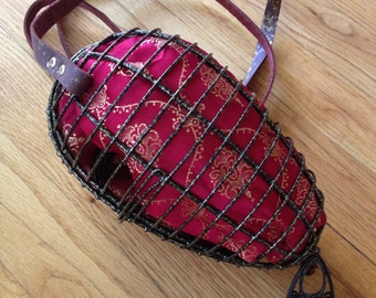 Steampunk cage purse - Cosplay purse satin lined in red and gold