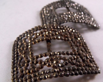 Set of Two Matching Vintage Antique Cut Steel Shoe Clips France Fancy