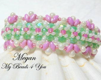 Beaded Bracelet, Pearl Bracelet, Seed Bead Bracelet, Embellished Bracelet,Beadwoven Bracelet, Superduo Beaded, Mothers Day Gift, MyBeads4You