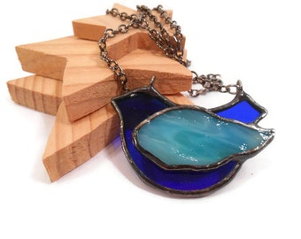 Stained Glass Jewelry Blue Bird Glass Pendant Handmade Jewelry Glass and Metal Necklace Statement Jewelry Necklace Blue Bird Jewelry
