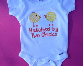 Hatched by Two Chicks Baby onesie, two moms baby shower gift, lesbian moms baby shower gift, baby announcement