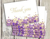 Set of 25 Gold and Purple Bubbly Thank You cards for Bridal Shower / Wedding / Party / Personal Use / Baby Shower