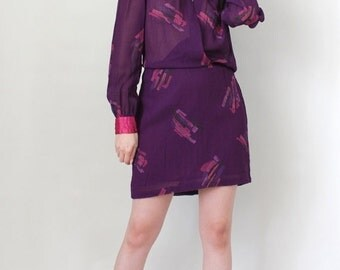 Vintage Crepe Chiffon Mini Dress Faux Wrap Dress Made in France - Size Medium to Large