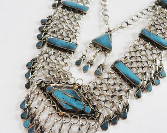 Turquoise tribal vintage Indian ethnic statement necklace