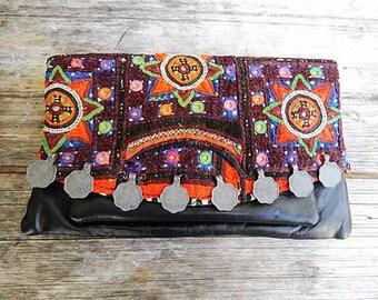 Vintage leather Indian tribal clutch bag