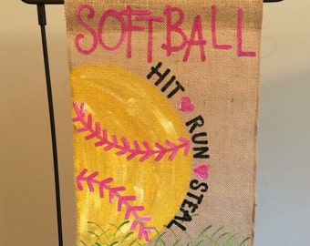 Handpainted burlap garden flag ... Softball