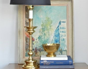 Vintage Brass Table Lamp Tall Column Lamp Gold Polished Metal Brass End Table Accent Lamp
