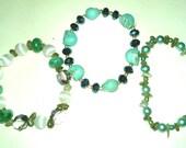 Set of Three Blue/Green Themed Stretch Bracelets