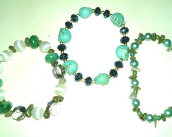 Set of Three Blue/Green Themed Stretch Bracelets