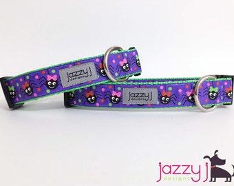 Purple Dancing Spiders Halloween Dog Collar