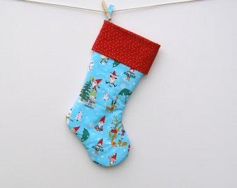 Gnomes Christmas stocking. Large Cotton Stocking.  Christmas Stocking for Children.  Whimsical Christmas Home Decor - Holiday Gnome Tree
