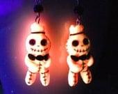 Voodoo Doll Earrings - Glow in the Dark- gift, girlfriend, sister, teens, cute, halloween, geek, mom, party, stocking stuffer