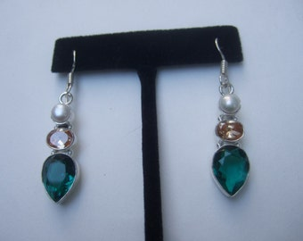 Sterling Artisan Semi Precious Dangle Earrings
