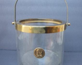 Sleek Vintage Glass Ice Bucket with Gilt Roman Style Coin c 1970s