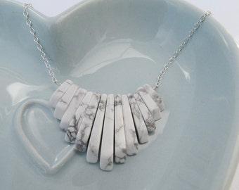 White Howlite & Silver Fringe Necklace - Sterling Silver