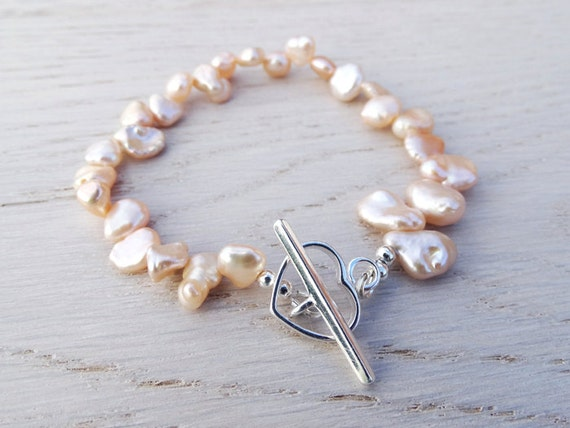 Pearl Bracelet & Silver Heart Toggle - Peach Keshi Pearls - Sterling Silver
