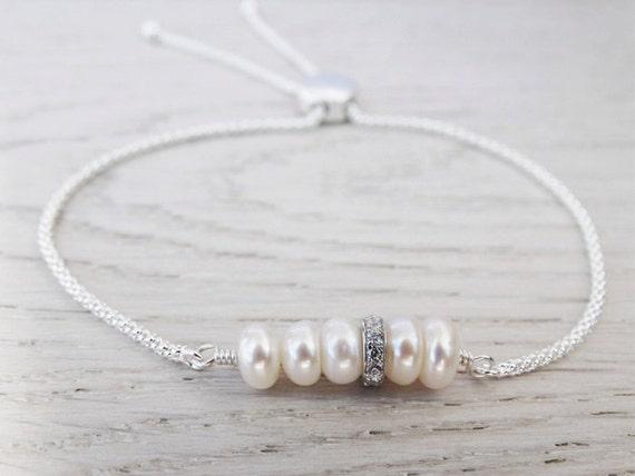 Pearl Bracelet - Sterling Silver - Freshwater Pearls & Cubic Zirconia