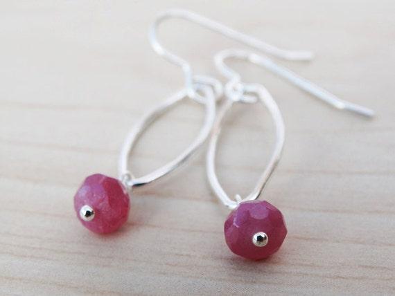 Silver & Ruby Drop Earrings - Sterling Silver