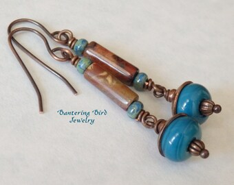 Southwestern Jasper Earrings, Long Brown and Blue Earrings, Teal Lampwork Glass Beads, Hand Stamped Copper, Artisan Copper Jewelry