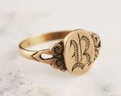 10k Rose Gold Initial R Signet Ring - Antique Victorian