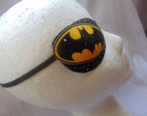 """Man's  eye patch, """"The Bat Signal""""/ vision aid/ eye accessory/cataract aid/ eye health/ eye care/ eye wear art/ Bat Man theme/artsy"""