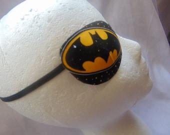 "Man's  eye patch, ""The Bat Signal""/ vision aid/ eye accessory/cataract aid/ eye health/ eye care/ eye wear art/ Bat Man theme/gift idea"