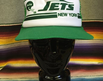 80s New York Jets Vintage Trucker Cap - Jets Retro Ballcap - Green and White Snapback Hat - Throwback New York Jets - NFL Football Swag