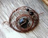 Large hair slide, hair barrette, copper hair fork or hair pin, wire wrapped accessories, woodland hair clip, bun pin, long hair
