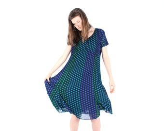 SALE - 90s PLEATS PLEASE Style Micropleated Origami Ruffle Polka Dot Pleated Swing Tee Dress
