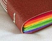 Be Happy Rainbow Brown Leather Journal with Wood Effect Star Button Fastener