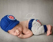 Newborn Chicago Cubs Outfit Uniform Set, Hat, Cap, Pants, Knitted Crochet, Baby Gift, Photo Prop, Baseball, MLB