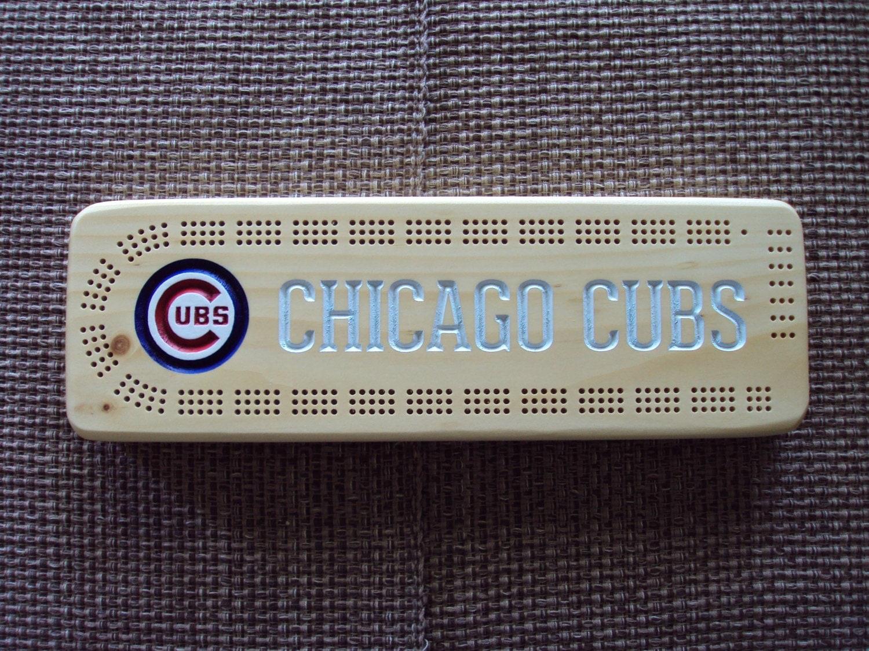 Rustic Cribbage Board Chicago Cubs Baseball Furniture Log