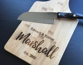 "Personalized Cutting Board - Custom Engraved ""Marshall""  Unique Wedding Gift, Housewarming Gift"