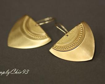 Arrow Head Earrings, Aztec Earrings, Pattern Earrings, Raw Brass ,Gold Earrings,Boho ,Tribal Jewelry,Bohemian,Ornamental Shield