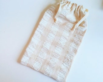 Textured Gift Bag Beige, reusable drawstring bag for gift giving - American Made