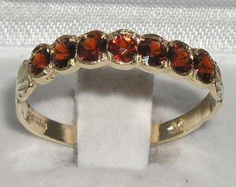 Dainty Solid 9K Yellow Gold Natural Seven Garnet Wave Half Eternity Ring, English Design Anniversary Band - Customizable