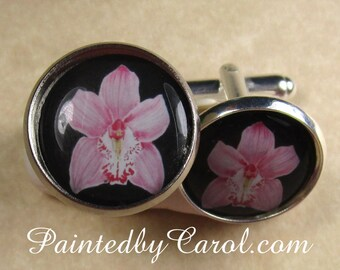 Orchid Cufflinks, Pink Cattleya Orchid Mens Gifts, Orchid Bridal Jewelry, Orchid Wedding Jewelry, Orchid Groom Cufflinks, Fathers Day Gifts
