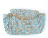 20s Beaded Bag Small Clutch Blue and Tan
