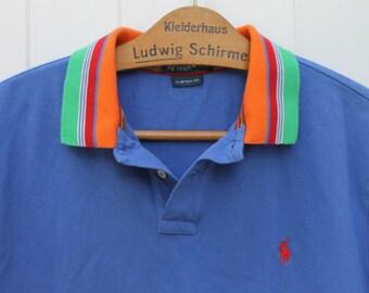 Ralph Lauren Polo Shirt Vintage Golf Shirt Blue Orange Green White Shirt Striped Shirt Vintage Menswear Activewear Blue White Stripe Shirt