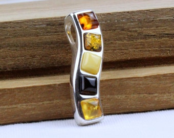 Natural Baltic Amber Pendant 925 Sterling SIlver Multi Colour Amber. MP07 MapenziGems