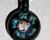 Glass Implosion Flower Sparkling Blue and Black