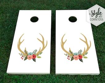 Wedding Cornhole Set - Floral Deer Antlers - For Him & Her - Hunting - Buck