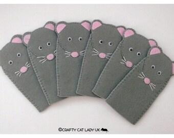 Grey Mouse felt finger Puppet