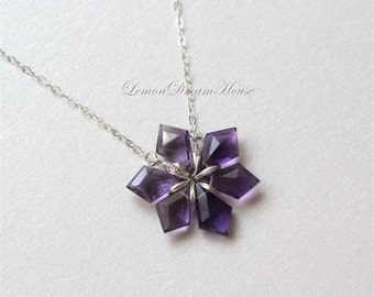 February Birthstone. Snowflake Necklace, Amethyst Faceted Tilak Briolettes, Sterling Silver Chain, Wire Wrapped Snowflake. Holiday. N227.